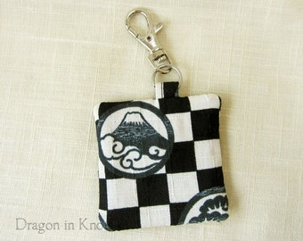 Earbud Holder - Black and Off-White Guitar Pick Holder, Mountain on checked background, Asian Fabric Keychain Pocket with Swivel Clip