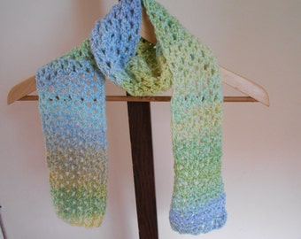 """Hand Crochet Scarf 51"""" by 5"""" Variegated Scarf Green, Blue, And Yellow Scarf"""