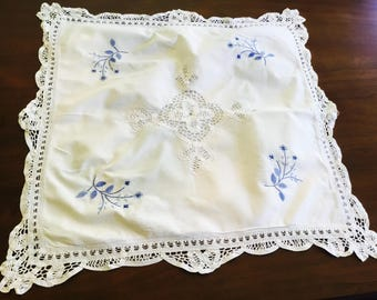 Vintage embroidered square pillow cover.
