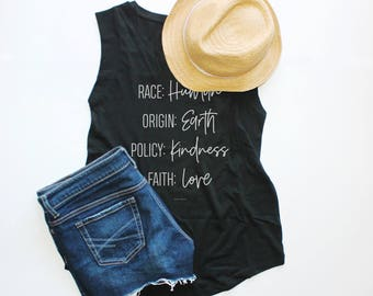 I Am Human, Cap Sleeve Tank, Graphic Tee, Peace, Love, Workout Top, Fitness Tank, Yoga Top, Gym Top, Mom Life, Human Rights, Kindness Tee