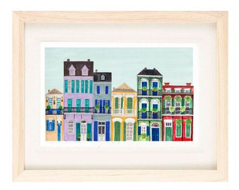 French Quarter, NEW ORLEANS, Louisiana - Colorful Row Houses, Balcony Buildings 8 x 10, 11 x 17 Illustration Art Print, New Orleans Saints