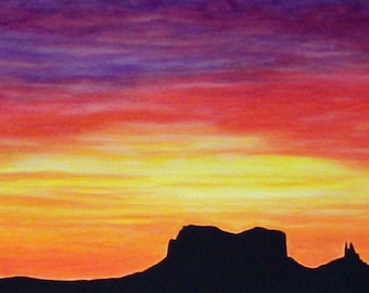 Sunrise Painting Large Painting Acrylic Painting Desert Landscape Colorful southwest desert rock bright painting cloud painting sunset