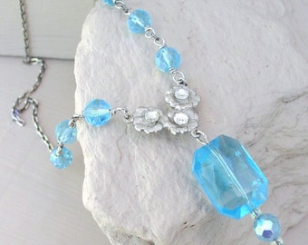 Necklace Aqua Pendant Glass Bead Necklace Ice Blue Pendant Beaded Crystal Beads Rhinestone Handmade