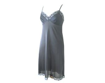 Slip Dress Basic Black Satiny Lace Size Small