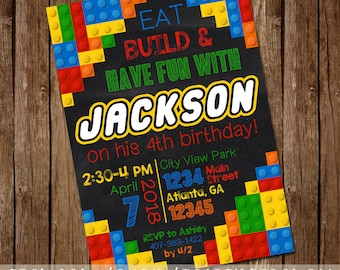 LEGO Inspired Building Blocks Birthday Party Invitation Girl or Boy Colored Bricks Legoland Invitation - 5x7 - Digital Download - Printable