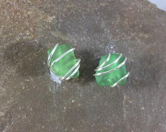 Green Wire Wrapped Sea Glass Studs, Surf Jewelry, Beach Glass Post Earrings, Genuine Seaglass, Silver Stud, Beach wedding Jewelry, Gift Mom
