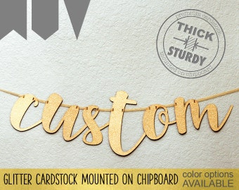 Custom banner, Personalized banner, one line banner, Gold Glitter party decorations, cursive banner, premium size