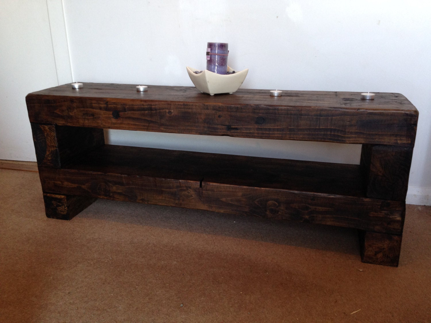 Image of 100 cm Tv stand rustic chunky lcd wooden