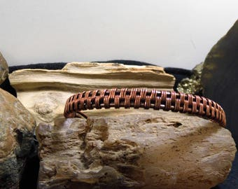 Unisex Antique Copper Wire Wrapped Open Wrist Ankle Cuff Bracelet size 8