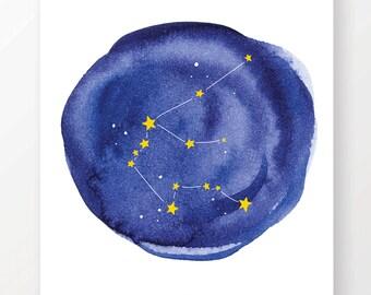 Watercolor Aquarius Constellation Art Print. Instant Download Printable Art, Digital Print. Great last minute gift!