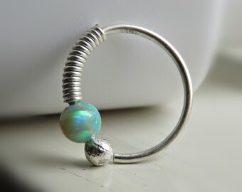 Sterling Silver Nose Ring Hoop - Silver Cartilage Hoop Earring - Opal Hoop Earring - Beaded Nose Ring,