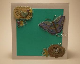 Handmade Turquoise Bird and Nest Card