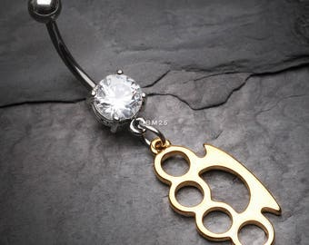 Classic Golden Brassknuckle Belly Button Ring
