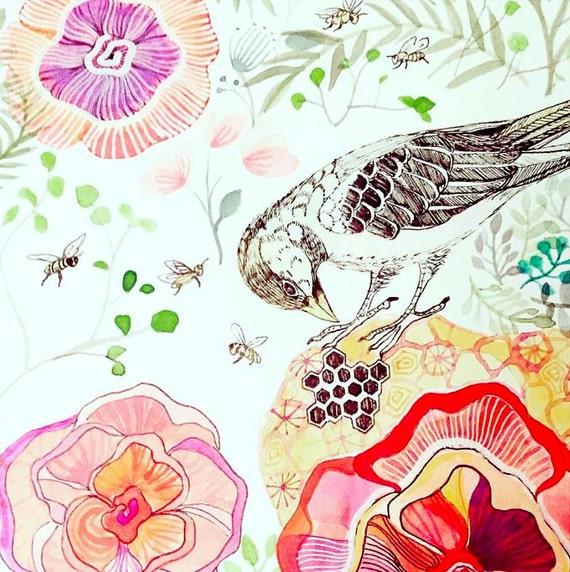 Bird Art Illustration Print Wall Decor for Kids Nursery Decor Painting Watercolor Bees Honeycomb Flowers Wall Art Sparrow