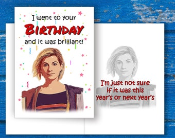 Doctor Who Birthday Card, Jodie Whittaker Birthday Card, Dr Who Birthday Card