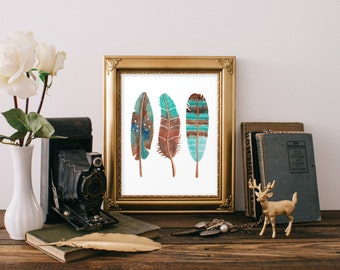 Printable art, Watercolor feather print, Tribal feather print, Feather printable, Southwest decor, Home decor, Feather art, Boho decor BD757