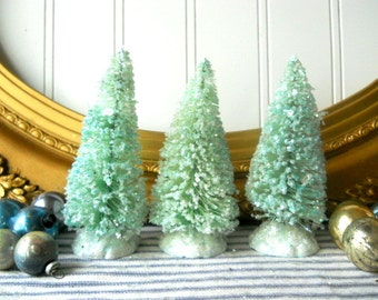 "3 Bottle brush trees aqua blue green vintage putz style 4"" glittered bristle sisal bottlebrush Christmas trees Holiday Decor"
