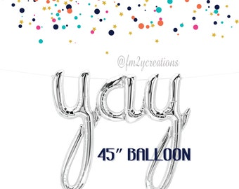 Silver YAY Script Balloon | YAY Foil Balloon 45"