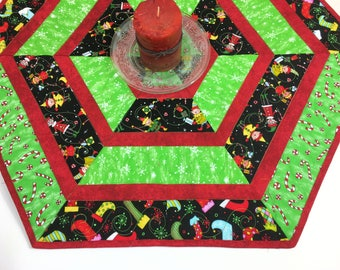 Christmas Quilted Table Runner, Elves and Candy Canes Hexagon Table Topper Quilt, Red Green White, Quiltsy Handmade Centerpiece Quilt