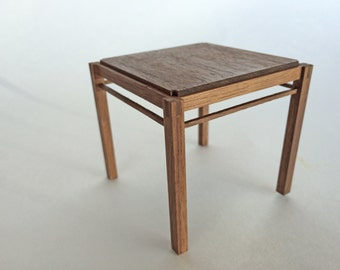 Mission Dining Table. Walnut, 1 inch scale dollhouse miniature. Craftsman or Arts and Crafts style
