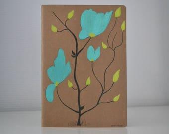 romantic notebook, woman notebook handpainted, stylized flowers notebook