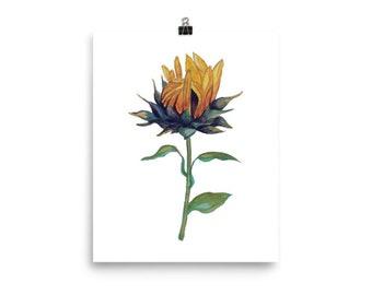 Watercolor Sunflower Print, Garden Art, Flower Art, Yellow Sunflower, Home decor, Wall Art, Nursery Decor, Baby Room Art, Floral, Spring Art