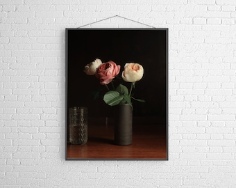 Pink  Rose Floral Modern Flower Photography Large Scale Fine Art Photography