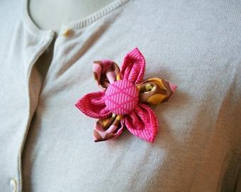 Pink Fabric Flower Brooch, Flower Pin - Handmade Fabric Flower