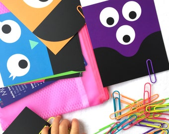 Monster teeth - busy bag with colour sorting & matching, toddler preschool kindergarten, fine motor development, paperclip activity for kids