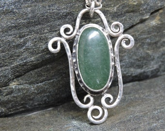 Aventurine Pendant on chain, Sterling Silver Scrollwork, Green Gemstone, Sterling Silver, Artisan Made, Handmade Pendant, Hand Wrought