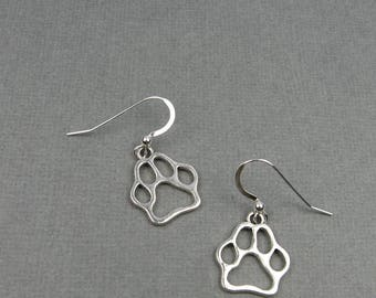 Dog Paw Earrings - Cute Animal Jewelry with Pawprint - Gift for Pet Lover or Dog Owner