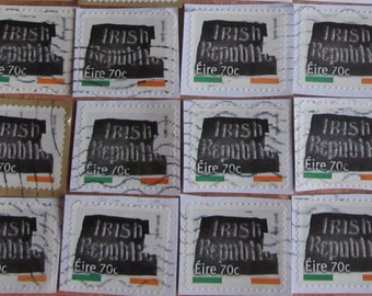 25 Irish Republic Flag 1916-2016 Commemorative 70 eurocent Cancelled Postage Stamps on Paper