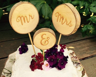 mr and mrs wood cake topper, tree slice rustic mr and mrs cake topper