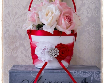 Your Color , Flower Girl Basket and Ring Bearer Pillow Set , Red Ring Bearer Pillow , Flower Girl Basket , Wedding Pillow