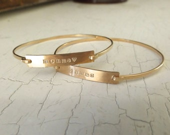 Personalized Gold Bar Bangle Bracelet