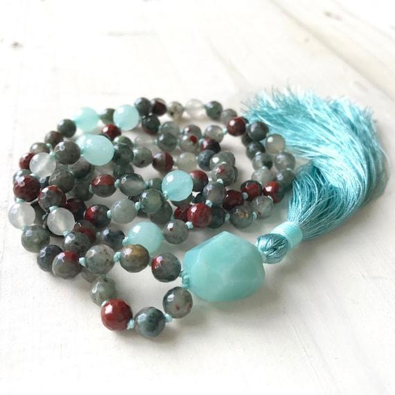 Bloodstone Mala Beads, Root Chakra Mala, Mala For Courage, 108 Bead Hand Knotted Mala, Silk Tassel Meditation Beads, Natural Healing Mala