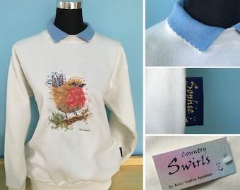 Robin Sweater with collar , sweatshirt winter white Embroidered bird designed by artist Sophie Appleton 'Country Swirls' Quaint British made