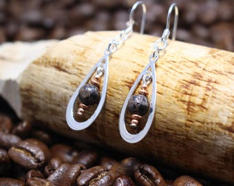 Copper Firebrick and Sterling Silver Earrings
