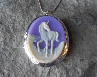 "YOU CHOOSE Silver or Bronze Locket--Stunning Unicorn - Pegasus Pendant Locket -  2"" long---.925 plated 22"" Chain--- Great Quality"