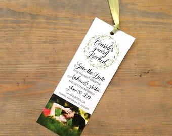 Bookmark Save the Date Greenery, Save the Date Bookmark, Literary Wedding Save the Date, Save the Date, Wreath, Simple Wedding Save the Date