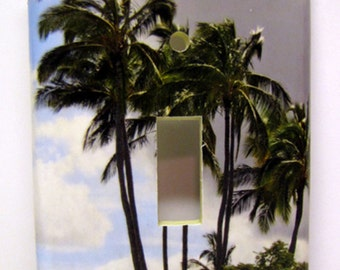 Almost Paradise -- Recycled Single Switch Plate, Photography, Hawaii, Palm Trees, Clouds, Island, Weather