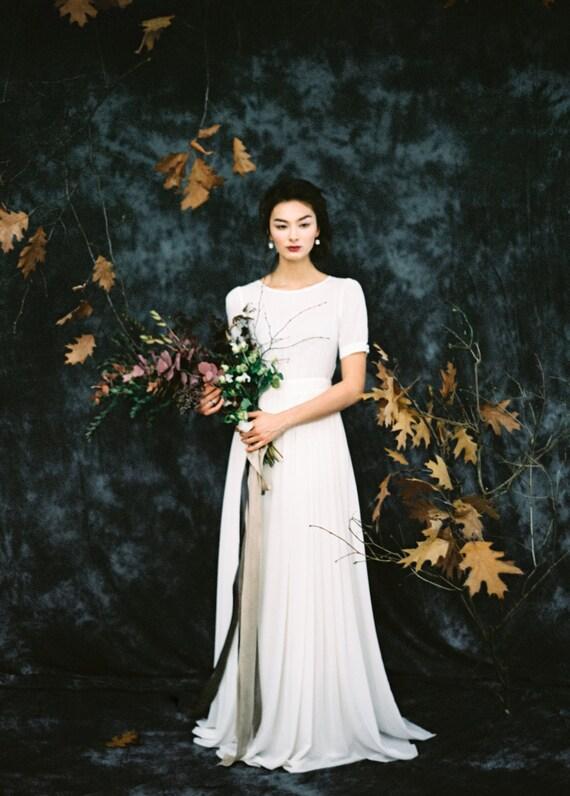 Kappe Ärmel Mantel Brautkleid mit bescheidenen Stehkragen
