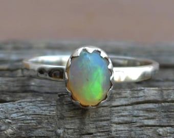 Ethiopian Opal Ring, Firey Bright Opal Ring, Engagement Ring Alternative, Opal Ring, Welo Opal Ring, October Birthstone Ring, Gold Opal Ring