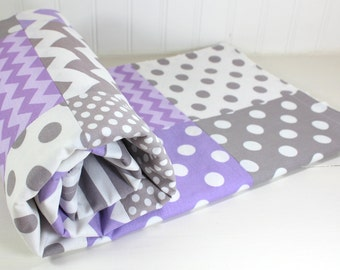 Minky Baby Blanket, Baby Blanket, Baby Quilt, Nursery Decor, Patchwork Quilt, Baby Shower Gift, Lavender, Purple, Gray, White, Baby Girl