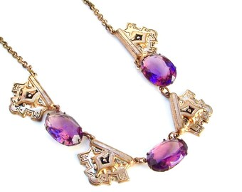 Amethyst Glass Necklace, Art Deco Necklace, Victorian Necklace, Antique Jewelry, Purple Necklace