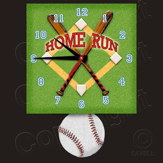 Baseball Clock with Baseball Pendulum • Home Run • Baseball Team