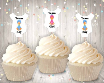 Gender Reveal, Cupcake Toppers, Baby Shirt, Goose, Team Boy, Team Girl, Party Picks, Food Picks
