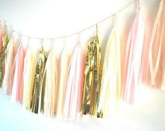Tissue Tassel Garland  - Pink, Cream, Beige and Gold - 'Pink Toast'