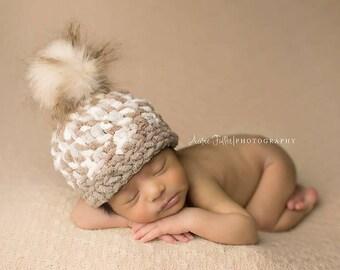 Baby BOY Hat, POM POM Hat, Baby Girl Hat. Baby boy pom pom hat,  Newborn Baby Girl or Boy Crochet Chunky Pom Pom  Photography Prop pink hat