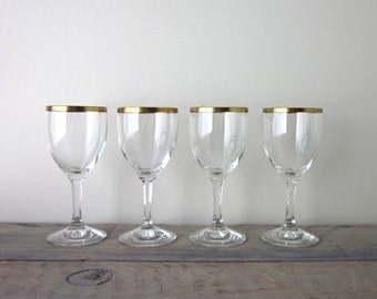 Crystal Wine Champage Glasses with Gold Trim Set of Four